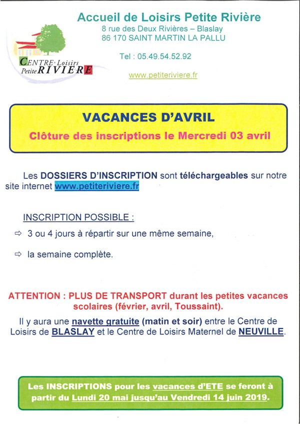 vacances Avril inscriptions